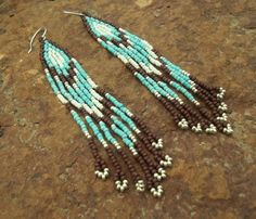 Southwestern Seed Beaded Native American Earrings - Turquoise, Brown, Silver w/ Sterling Silver Ear Wires