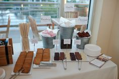 We had the chance to debut our Gourmet S'mores Bar at the Independent Wedding Association 's Groom's Night event - and what a success! Reception Food, Wedding Receptions, S'mores Bar, Bar Set, Food Stations, Dessert Bars, Dessert Tables, Dessert Catering, Food Tables