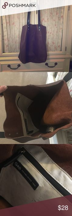 Brown and black Gap leather bag Very good condition. Barely used. GAP Bags Totes