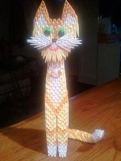 3d origami Tall Cat  KIT