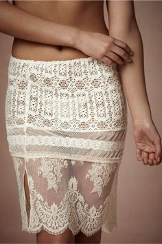 Beautiful slip needs a little a-line skirt. Lace Sampler Skirt in Lingerie View All Lingerie at BHLDN