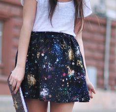 galaxy skirt, stars, galaxy, splatter skirt, mini skirt | Wheretoget.it