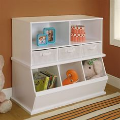 Badger Basket Stackable Three Bin Storage Cubby With Basket Shelf
