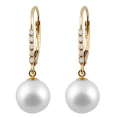 14k Two-tone Gold Diamond Accent and Pearl Leverback Earrings (8-9mm)
