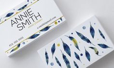 Watercolor Featers Business Card Design, Blue, Green, Golden, Glitter, Boho, Customizable by SmallBottleCreations on Etsy