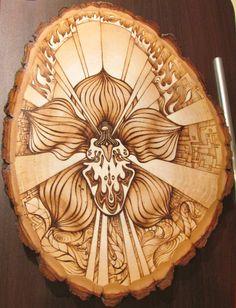 Wood-Burned Art on 10.5 x 13 by BrianImlayArt #feminine #orchid