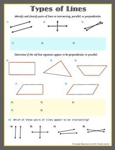 Types of Lines ( parallel, intersecting, or. by Biglearners Grade 6 Math Worksheets, Types Of Lines, Teacher Pay Teachers, Geometry