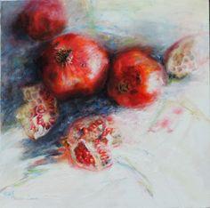 Grace is Given / Mariana Zwaan / Oil / Still Life, Pomegranates, Fruit, Red.