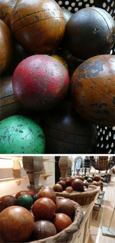 Colourfully painted wooden game balls c.1920 from France-just love colored balls!