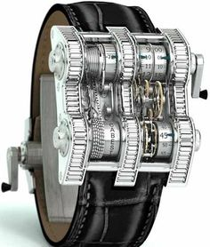 Yes, this is a watch! The Cabestan Winch Tourbillion Vertical Watch. We thought it was a personal wrist coin changer and it would spit nickels and dimes.