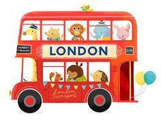 Personalised nursery art print London bus on etsy by FridaBandida