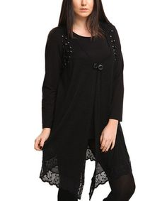 Look what I found on #zulily! Black Lace-Trim Crochet Double Layer Top - Plus by Zer Otantik #zulilyfinds