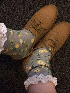 Floral frilly socks