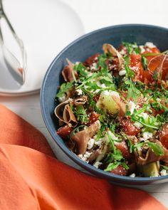 Melon & Serrano Ham Salad in Balsamic Reduction Serrano Ham, Ham Salad, Balsamic Reduction, Salad Ideas, Lamb Chops, Easy Salads, Summer Ideas, Salad Bowls, Arugula
