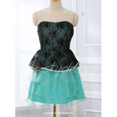 Vintage Strapless Lace Splicing Multi-Layered Dress For Women