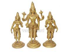 Srinivasa Sridevi Bhudevi Brass Idols online, VedicVaani.com. Lord Srinivasan is also known as Vishnu Malayappa swami is worshipped during religious ceremonies