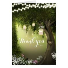 Oak Tree Enchanted Forest Garden Thank You Card