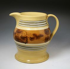 Antique pottery yellow ware mocha decorated English pitcher c1840