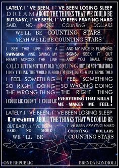 ONE REPUBLIC - Counting Stars ☆ #onerepublic #CountingStars #Stars  #Native #graphic #conceptual #art #ryan #tedder #ryantedder #music #Lyrics