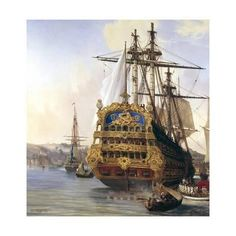 Giclee Print: The Ship Le Foudroyant in Brest Harbour by Auguste Mayer : Old Sailing Ships, Ship Paintings, Wooden Ship, Tug Boats, Fishing Villages, Tall Ships, Model Ships, Royal Navy, Giclee Print