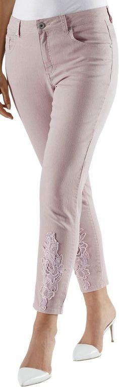 Fair Lady 7/8-Hose aus elastischer Jeans-Qualität ab 44,99€. 7/8-Hose mit Spitzen-Partien am Beinende, Baumwolle, Polyester, Elasthan bei OTTO