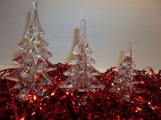 "Vintage Art Glass CHRISTMAS TREE Set Of 3 CRYSTAL CLEAR 6"" 5.5"" 4.25"""