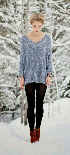 Oversized sweater, leggings, and boots. Fall/Winter comfort outfit.