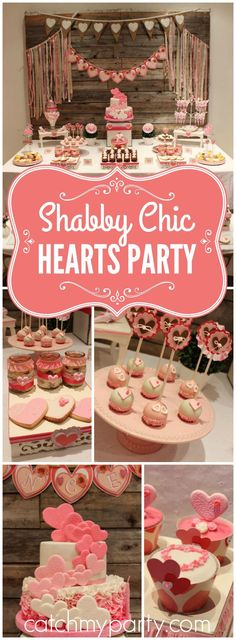This shabby chic party has a sweet heart theme! See more party ideas at CatchMyParty.com!