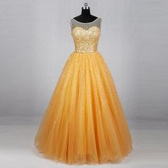 Sleeveless gold gowns sequin ball gown tulle formal dresses B01