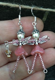 Whimsical Angel FAIRY Faerie Beaded EARRINGS: by TwinklingOfAnEye