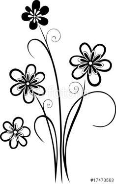 Vektor: Wandtattoo, Blumen, Blüten, filigran und floral