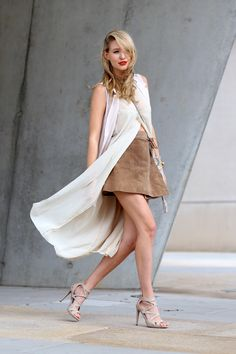 All deets: www.ohhcouture.com   Streetstyle: Layers, nude shades, @asos leather skirt, waistcoat, layering look, heels #ohhcouture