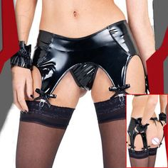Womens black sexy metallic faux leather latex Garter Belt Suspender set with underwear panty for stockings clubwear lingerie