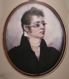 Miniature of a young gentleman wearing spectacles with green-colored lenses in silver frames, c 1807 in the De Witt Wallace Museum, Colonial Williamsburg.