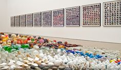 """Gabriel Orozco presents a two-part sculptural and photographic installation """"Asterisms"""". Thousands of collected objects, retrieved from the shores of a natural reserve in Mexico and a playing field in New York, form the core of the commissioned work for the Deutsche Guggenheim. The idea that can be read both as a criticism of civilization and a poetic topography"""
