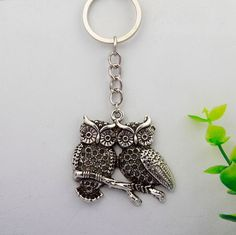 10Pcs Hot Vintage Silver Great Couple Owl Charm Gifts Key Ring Fit Key Chains Accessories Fashion Jewelry DIY For Women&Men F028