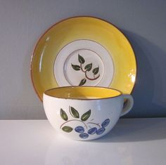 Vintage Stangl Pottery  Cup and Saucer   Blueberry by SimplySuzula, $8.50