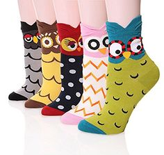 Womens Casual Socks - Cute Crazy Lovely Animal Owl Patter...