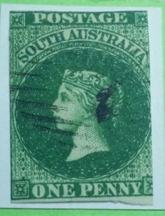 South australia SA 1855  one penny 1d sg1 stamp green on paper