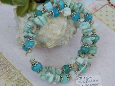 Bracelet wire wrapped Healing stones - Larimar, Opalite