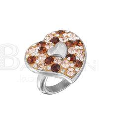 Anillos de moda de acero inoxidable 316l de forma dos corazon con varios colores de cristal