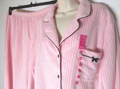 Charter Club Womens NEW Pink Fleece Striped 2 PC Pajama Set XXXL 3XL 3X-Lg #CharterClub #PajamaSets