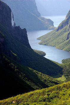 Word of God Speaks through nature's breathtaking views of beauty and nature. NbView from the top of Western Brook Pond Gorge in Gros Morne National Park, Newfoundland, Canada (by marc_guitard). Newfoundland Canada, Newfoundland And Labrador, Oh The Places You'll Go, Places To Travel, Places To Visit, Wonderful Places, Beautiful Places, Romantic Places, Parcs Canada