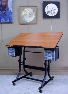 Craftmaster Table with Black Base by Alvin. Save 22 Off!. $148.00. Lifetime Warranty. CraftMaster Art Station...The ultimate in function  utility and convenience for the hobbyist or artist  the CraftMaster Hobby Station has been designed from the bottom up to meet your creative needs. Outstanding features include:24 x 40 top with rounded corners for safety. Available with a woodgrain top and black base. One-hand tilt-angle mechanism adjusts tabletop from 0 degrees to 30 degre...