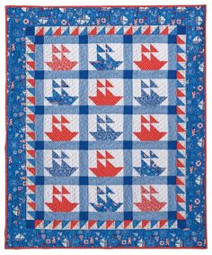 Looking for your next project? You're going to love Sail Away! Sailboat Quilt Pattern  by designer Barbara Weiland.