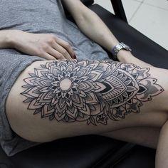 Ornamental Mandala Leg Tattoo - From Alisa Cheked