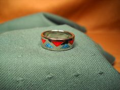 RING of TURQUOISE and CORAL Resin Size 7.5 by ChristophCreations, $15.00