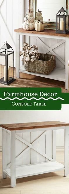 Small White Farmhouse Console Table- farmhouse Décor- Entry- entryway - Mudroom - Living Room- Dining Room- Side Table - Storage - Furniture - Interior - Home - House - Decorating - Style - Fixer Upper - Kitchen - Modern - Rustic looking - Vintage Feel - Country - cottage - French Country - Ideas- Joanna gaines Style #ad
