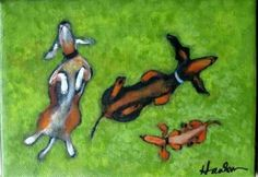 ROLLING IN SOMETHING STINKY WITH FRIENDS by LittleEllensArt on Etsy | Signed acrylic painting on stretched canvas. Another Dachshund/WIENER DOG inspired painting by Southwestern Ontario artist Ellen Haasen. She has works in a variety of media, as well as canvas and prints in a number of Ontario collections and beyond.