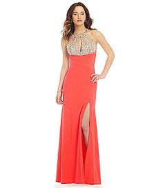 Morgan and Co Sequin and ABStone Bodice Gown #Dillards